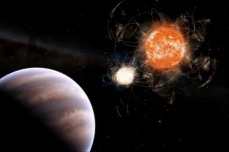 Jumbo exoplanet discovered in double system with a dead star