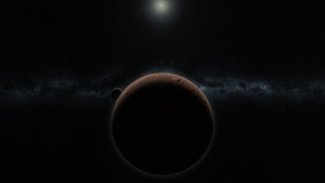 A round crescent world and its moon, with a distant sun.