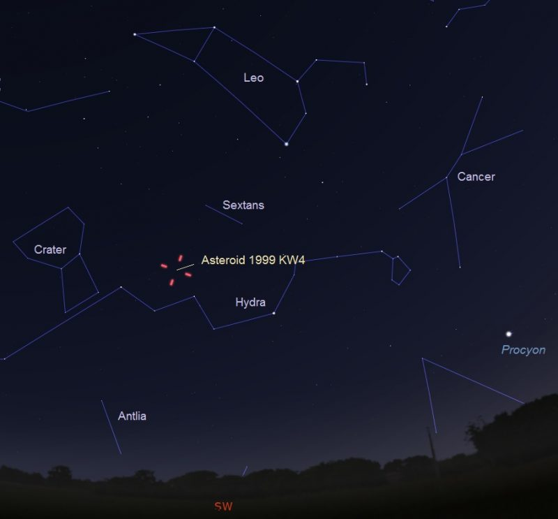 Chart with constellations Leo, Hydra, Cancer, and Crater with asteroid location marked.