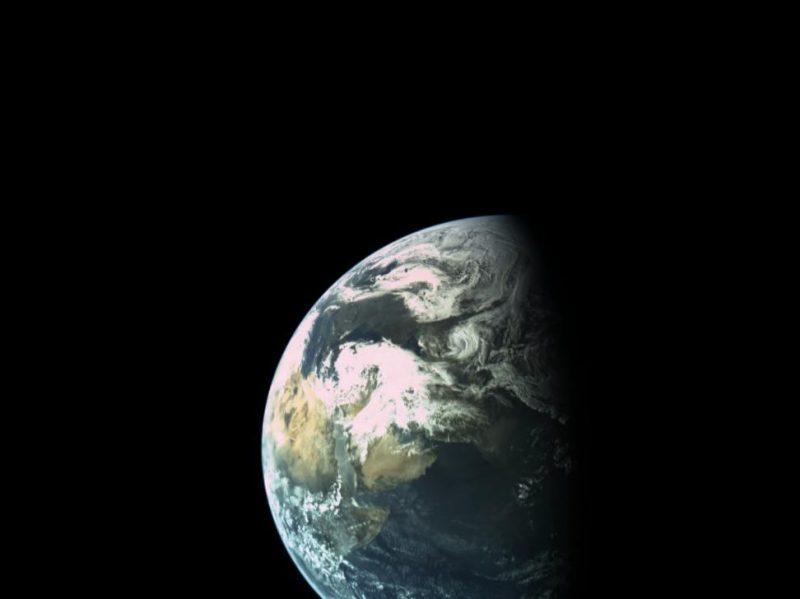 Earth in space showing horn of Africa, Arabian peninsula, Mediterranean sea.