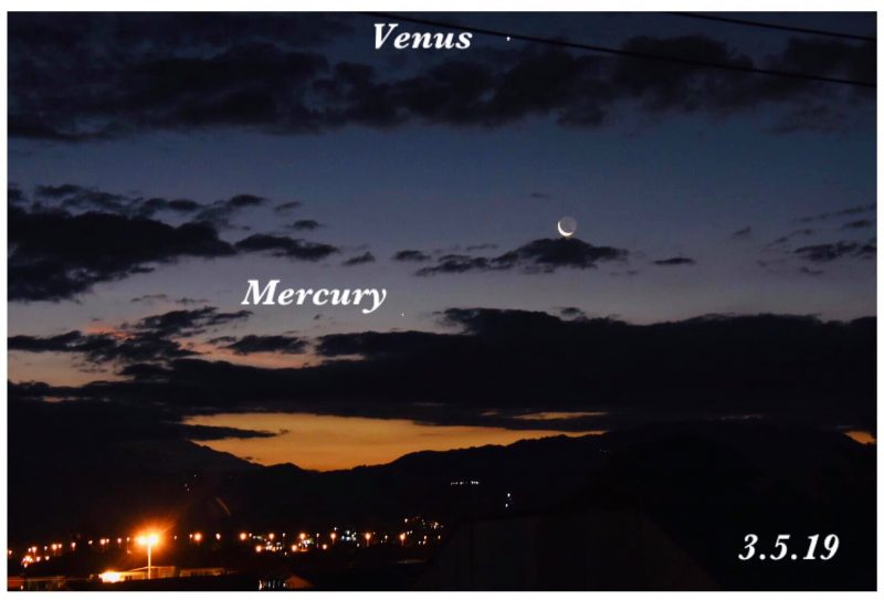 Moon, Venus and Mercury before sunrise May 3, 2019.