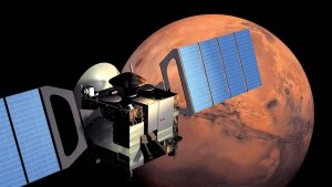 Mars Express orbiting Mars.