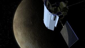 MESSENGER orbiting Mercury.