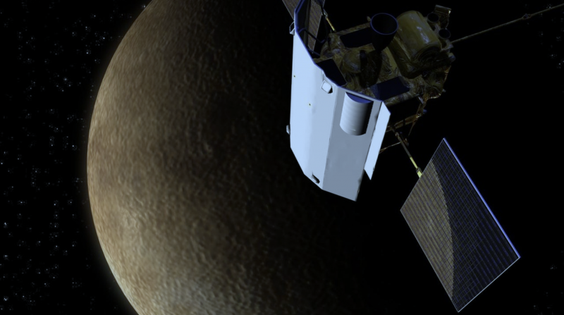 Cylindrical spacecraft with solar power panels orbiting medium dark rough surfaced planet.