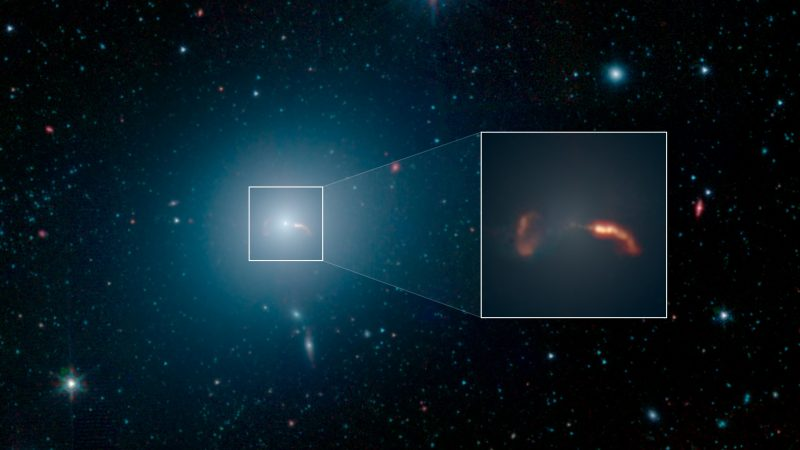The galaxy M87. An inset shows 2 massive jets.