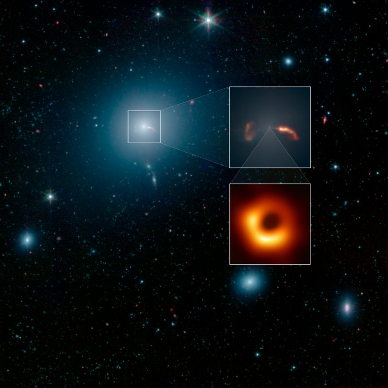 Galaxy with insets of black hole between 2 jets of ejected material, & of black hole closeup photo.