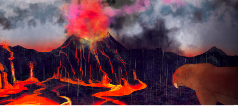 Volcano & fissures, lots of glowing orange lava. Large beast with short tusks. Clouds & rain.