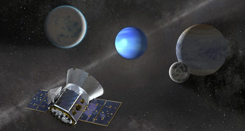 TESS spacecraft and array of 4 exoplanets not to scale.
