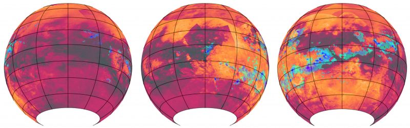 Three false-color globes marked in red, orange, black, and a blotchy stripe of blue.
