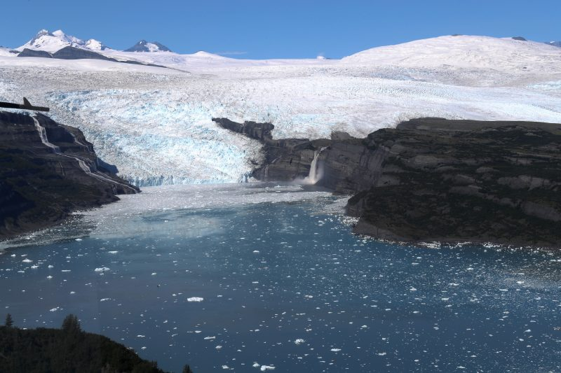 Glacier flowing into meltwater inlet.