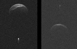 Split panel showing 2 round rocky bodies (the primary asteroid), with a light near it (the asteroid moon).