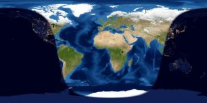 Map showing day and night sides of Earth at instant of April, 2019 full moon
