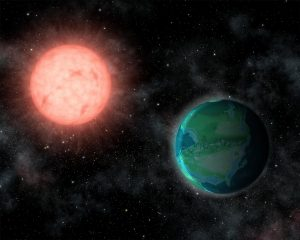 Planet orbiting red dwarf star.