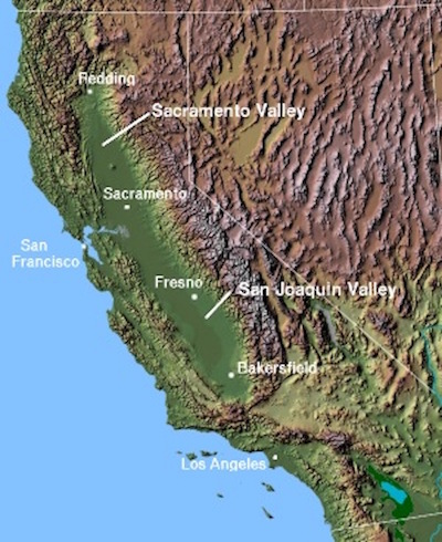 Contour map of California with labeled cities and valleys.