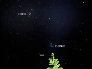 Two prominent bright clusters of stars in black sky with Mars, all labeled.