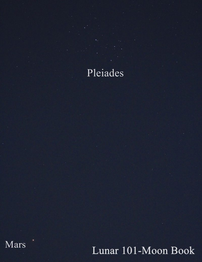 A closeup view of the dipper-shaped Pleiades and red Mars.