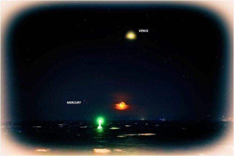 Venus high, crescent moon low, tiny dot - Mercury - left of moon.