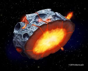 Illustration of asteroid with cratered surface, cut in half, exposing a yellow center with orange lines emanating to the surface.