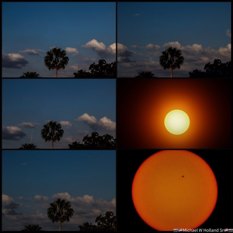 Montage: 4 pics of rocket trail in distance, 2 of sun with spot.
