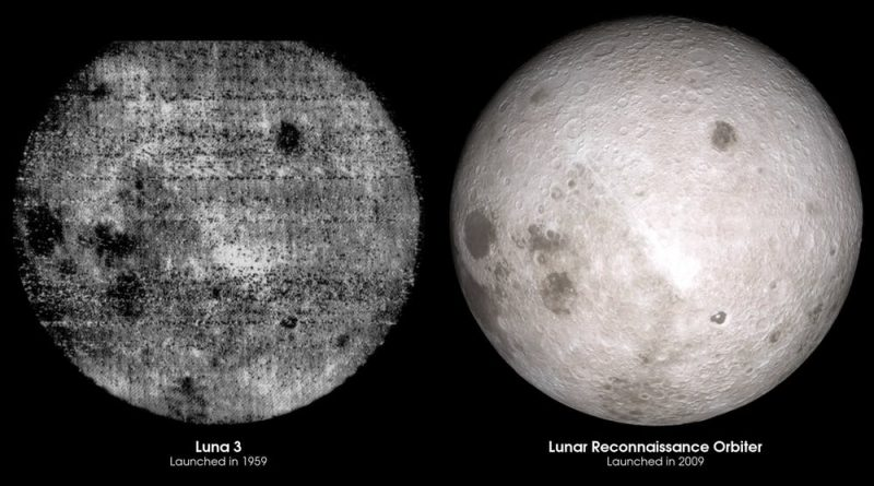 Two panels: left side very fuzzy image of back side of moon, right side clear image.