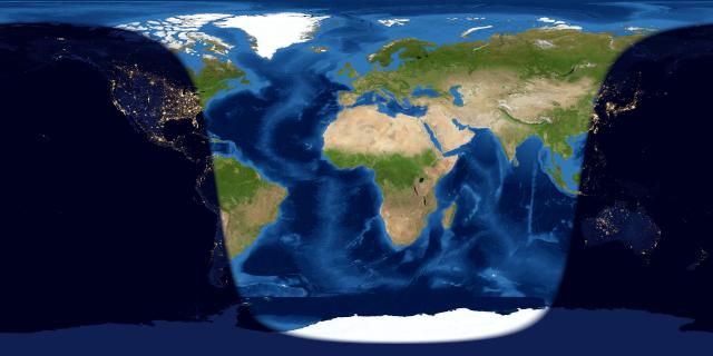 Rolled-out flat map of Earth with lighted half from South America to east Asia.