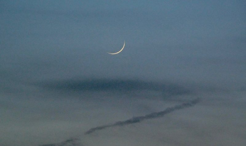 Thin young moon against a  blue twilight sky.