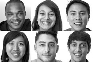 Array of photos of 6 human faces, smiling.