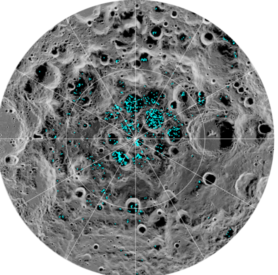 Blue spots in craters close to pole as indicated by latitude and longitude lines.