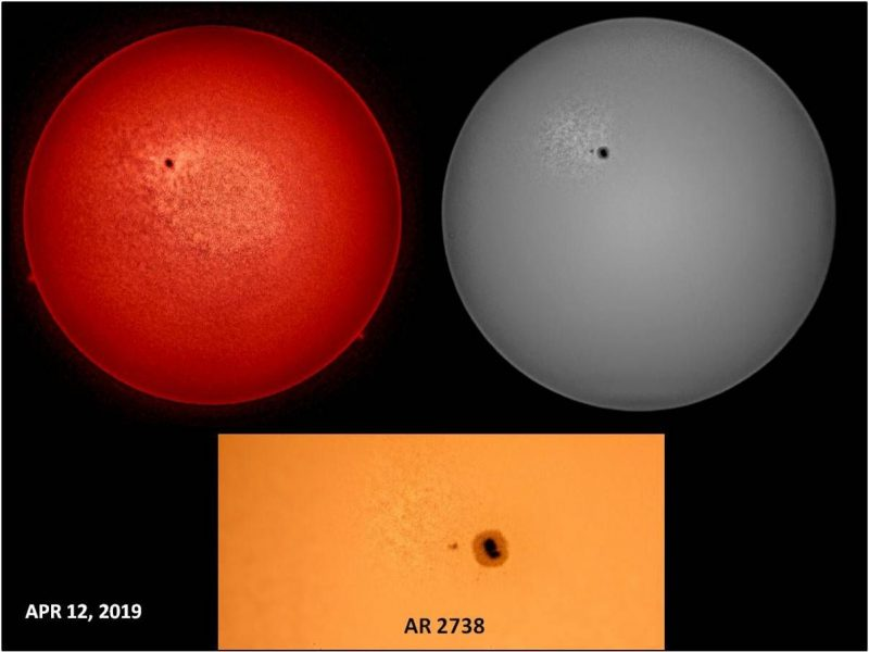 Images of the sun and sunspot, through various filters.