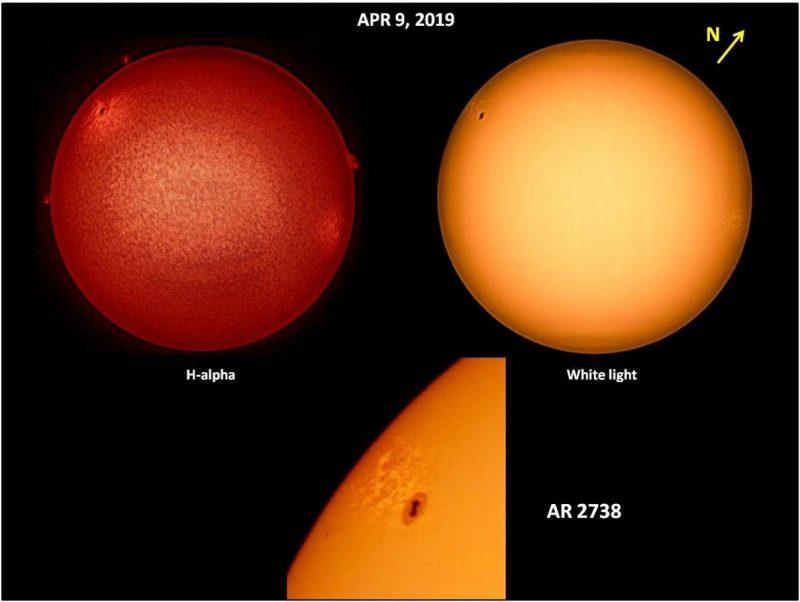 Three views of sunspot AR2738, on red sun, on yellow sun, and a closeup of the sunspot on yellow sun.