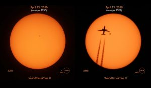 Suns side by side with spots, one with jetliner silhouetted on it.