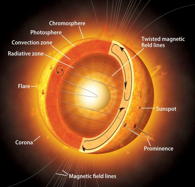 Cutaway view of sun showing different layers such as convection zone and photosphere.