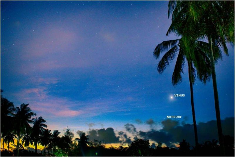 Venus and Mercury, annotated, in a twilight sky.