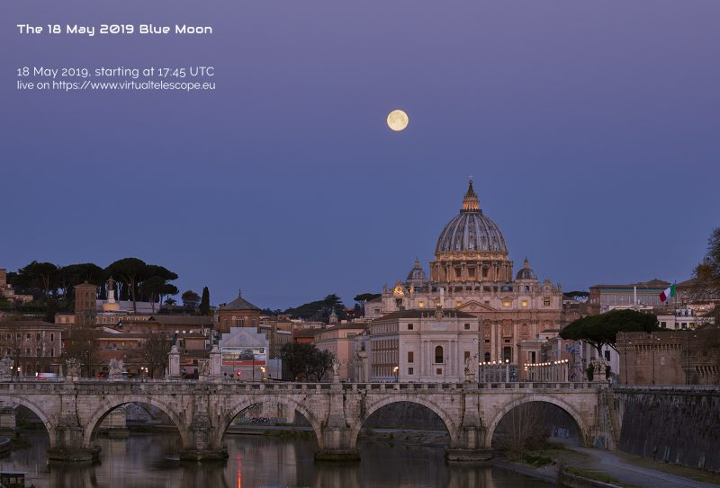Full moon above the Rome skyline with large domed church and antique stone bridge with 5 arches.