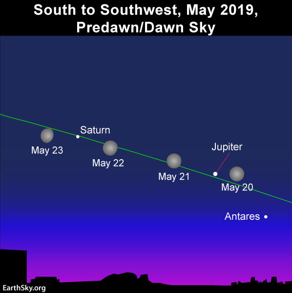 Sky chart of the moon, Jupiter and Saturn in the May morning sky.