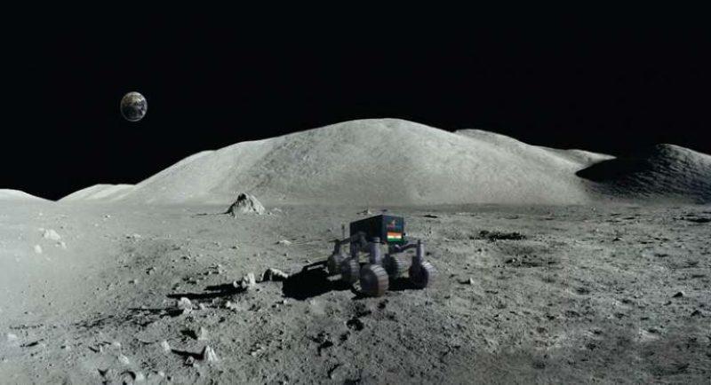 Lunar landscape, Earth in black sky, 4-tired vehicle.