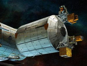 Spacecraft against a black background.