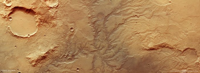 Tannish textured area with winding tributaries.