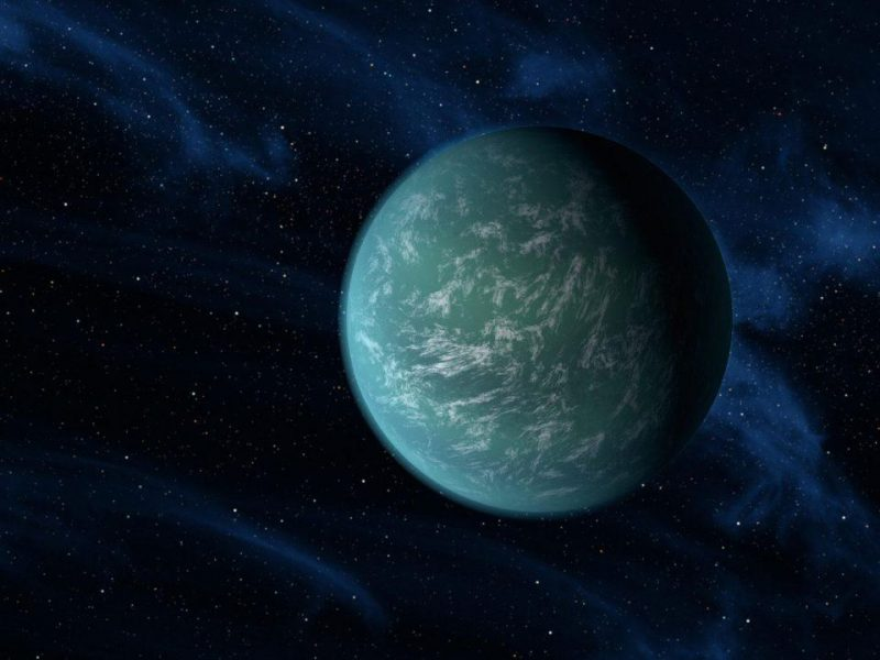 Greenish exoplanet with surface ocean and some clouds against starry space.