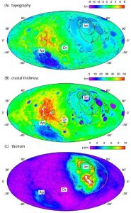 Topographic maps of lunar farside and nearside.