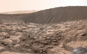 Tall sand dune on Mars seen from the ground.