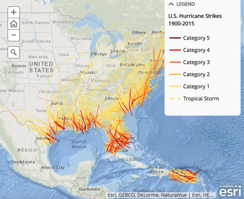 East coast map. Very many red lines into coastline continuing as orange and yellow.