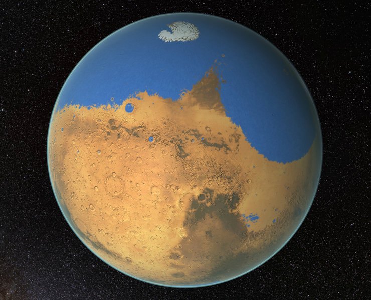 Mars with large blue areas over nearly half the planet.