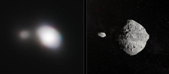Left, a blurred image of a double asteroid, one large, the other much smaller. Right, an artist's impression of the same object showing large and small rocky asteroids.