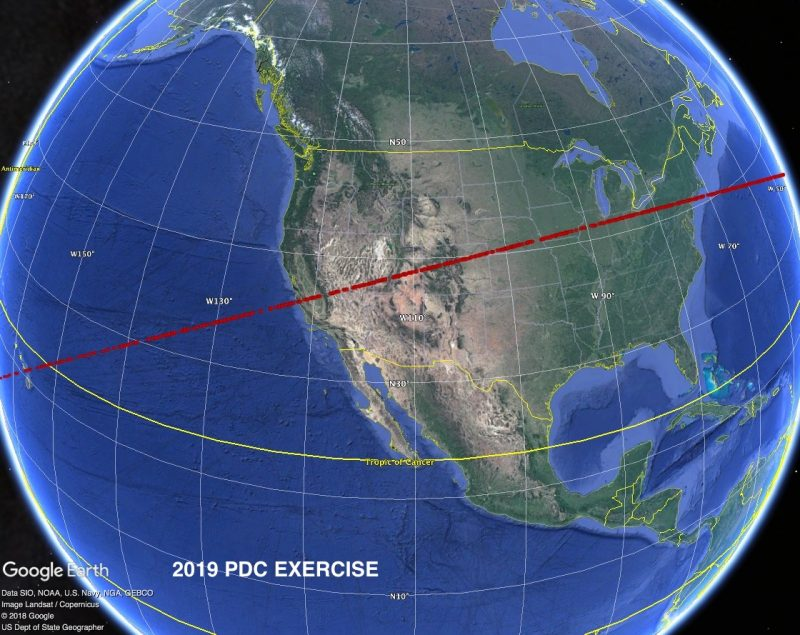 Globe with red line crossing North America from about San Diego California to New York City.