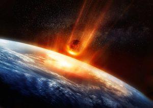 Artist's illustration of asteroid hitting Earth.