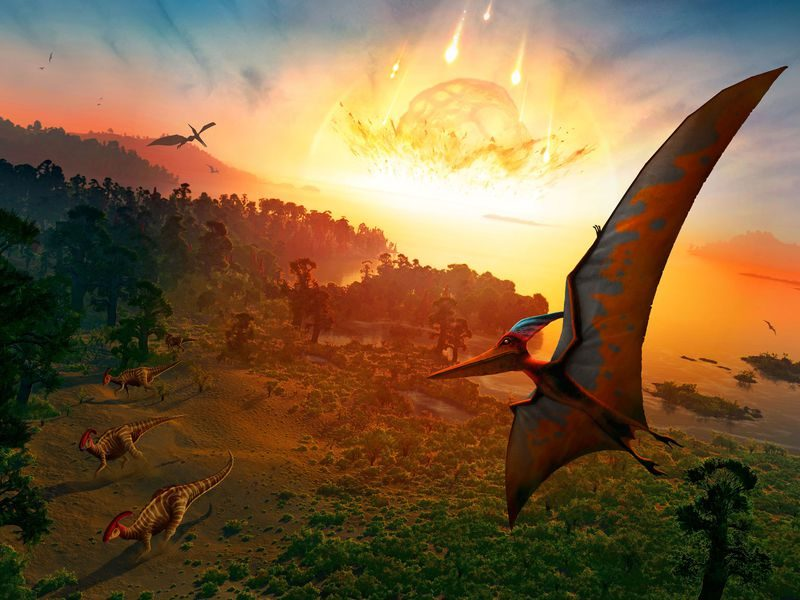 Huge rock hitting Earth explosively with dinosaurs and flying pterodactyls.