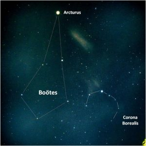 """Kite-shaped Bootes with star Arcturus at its """"tail,"""" and C-shaped Northern Crown nearby."""