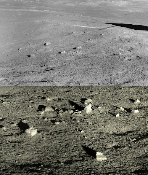Stark lunar landscape with scattered isolated rocks.