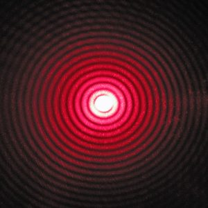 Diffraction pattern from a red laser beam.